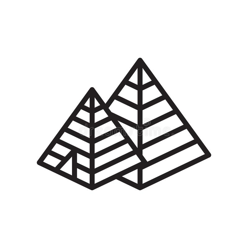 Pyramid icon vector sign and symbol isolated on white background royalty free illustration
