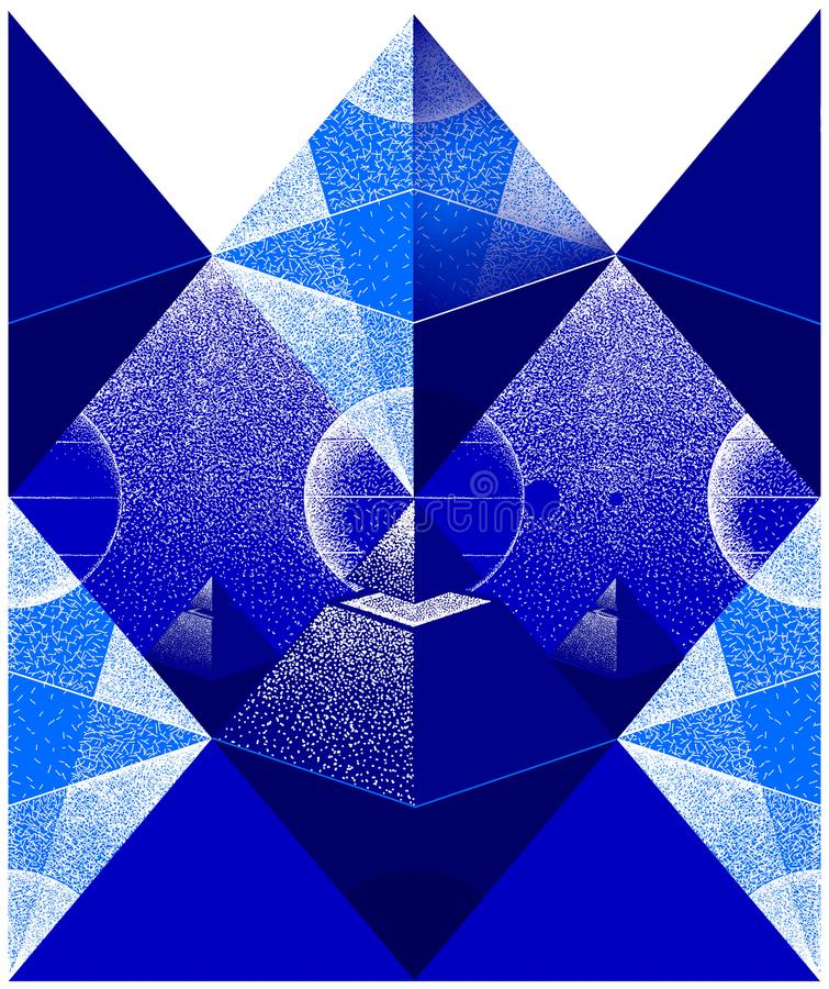 Pyramid illustration with Octahedron and space scene. stock image