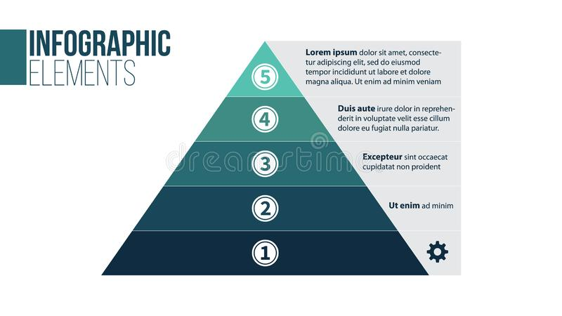 Pyramid infographic template with five elements, vector illustration isolated on white background vector illustration