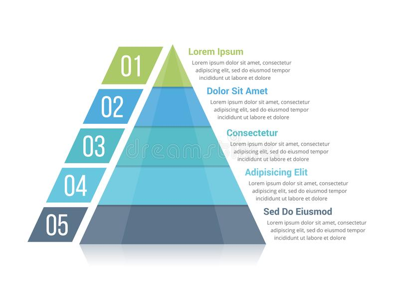 Pyramid Infographics. Pyramid infographic template with five elements royalty free illustration