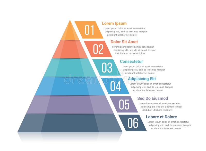 Pyramid Infographics. Pyramid infographic template with six elements stock illustration