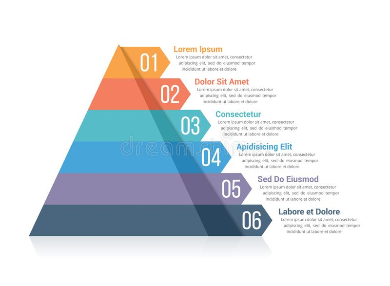 Pyramid Infographics. Pyramid infographic template with six elements royalty free illustration