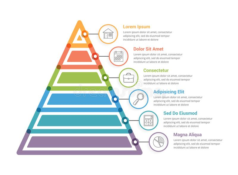 Pyramid Infographics. Pyramid infographic template with six elements vector illustration