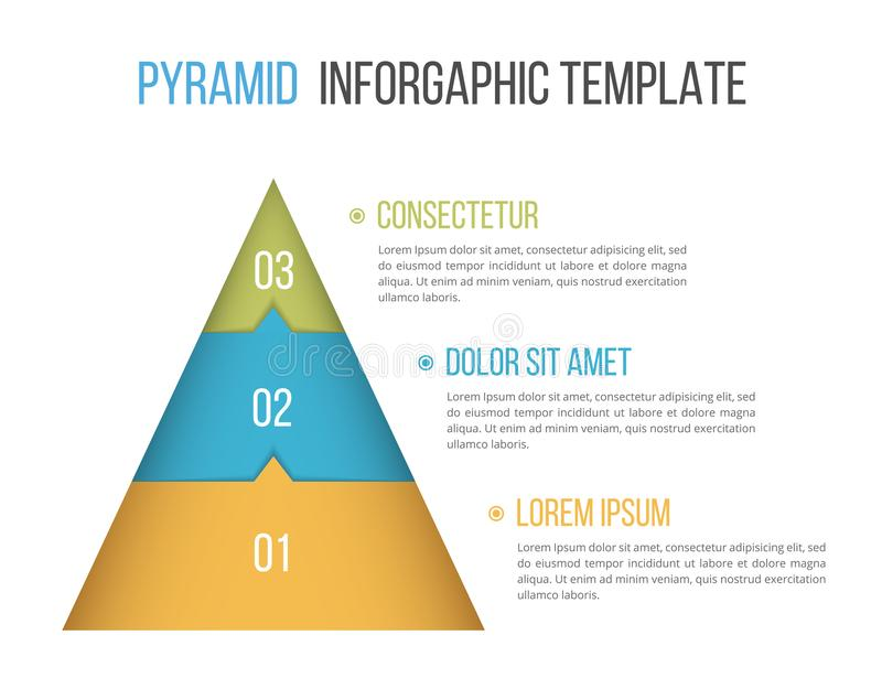 Pyramid Infographics. Pyramid infographic template with three elements royalty free illustration