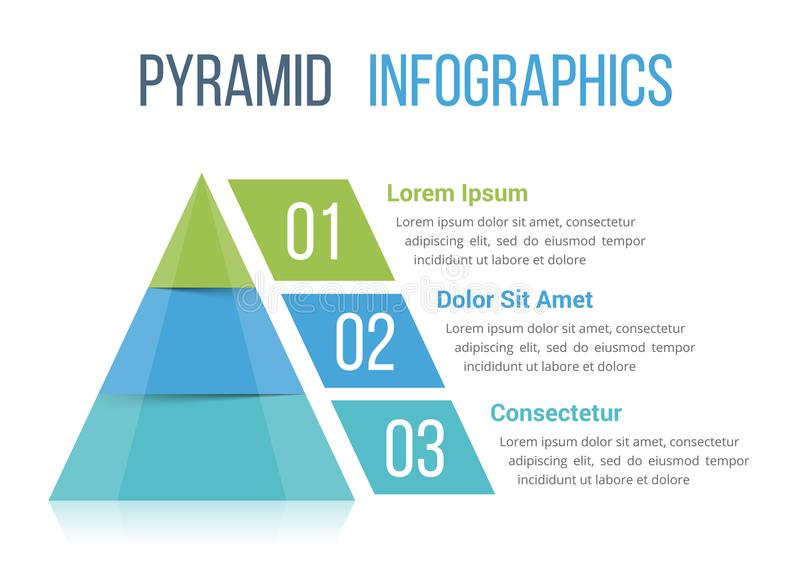 Pyramid Infographics. Pyramid infographic template with three elements vector illustration