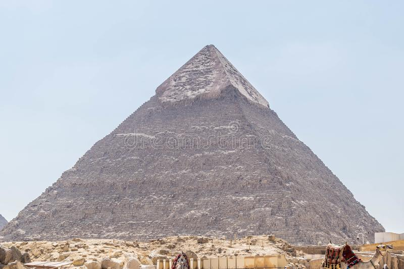 The second-tallest pyramid of Ancient Egypt. The Pyramid of Khafre or of Chephren is the second-tallest and second-largest of the Ancient Egyptian Pyramids of royalty free stock photos