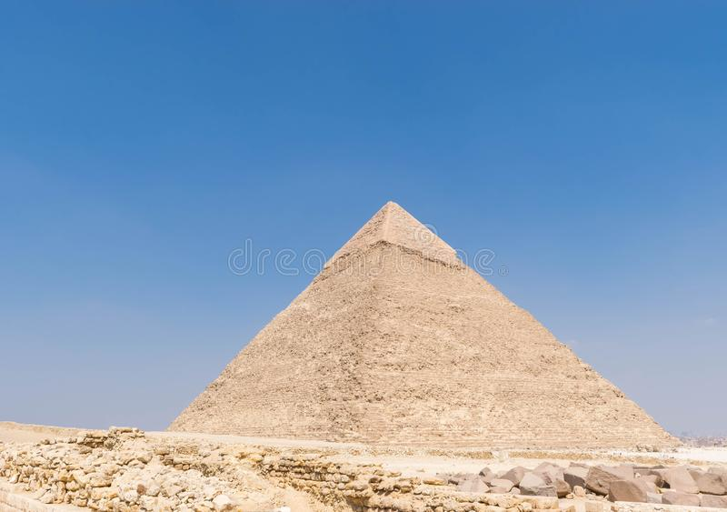 Pyramid of Khafre, Egypt. The Pyramid of Khafre or of Chephren is the second-tallest and second-largest of the Ancient Egyptian Pyramids of Giza and the tomb of stock photography