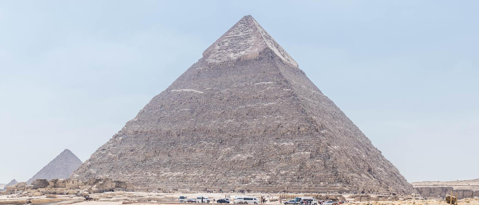 Pyramid of Khafre in Giza. The Pyramid of Khafre or of Chephren is the second-tallest and second-largest of the Ancient Egyptian Pyramids of Giza and the tomb of stock photos