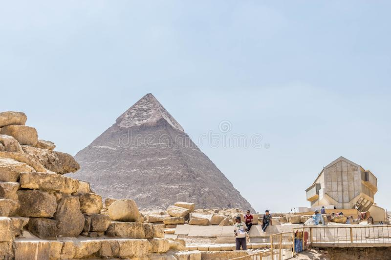 Pyramid of Khafre and Giza Solar boat museum royalty free stock photography