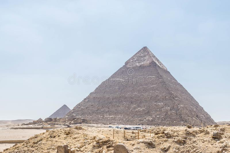 Pyramid of Khafre and Pyramid of Menkaure in Giza. The Pyramid of Khafre or of Chephren is the second-tallest and second-largest of the Ancient Egyptian Pyramids stock images