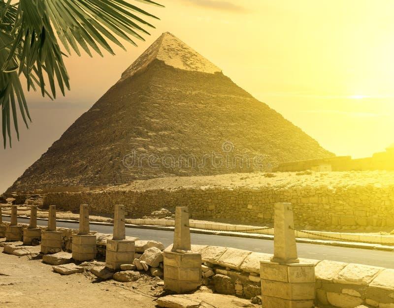Pyramid of Khafre near road stock photos