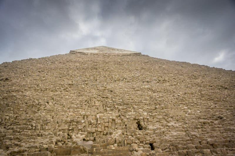 Pyramid of Khafre. Summit of the Pyramid of Khafre at Giza, Cairo, Egypt stock images