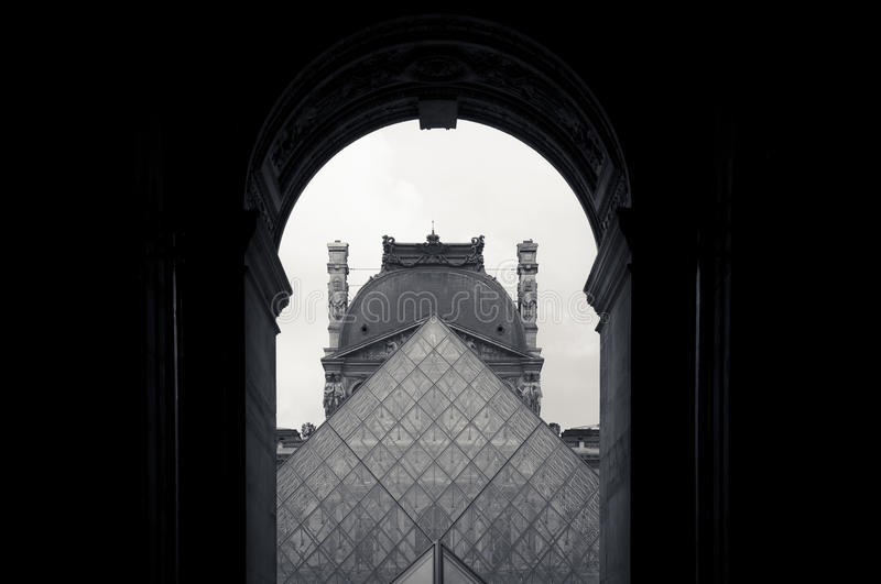 Pyramid of the Louvre stock photos