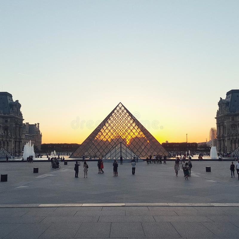 The pyramid of Louvre in the evening, Louvre  museum, Paris stock photos