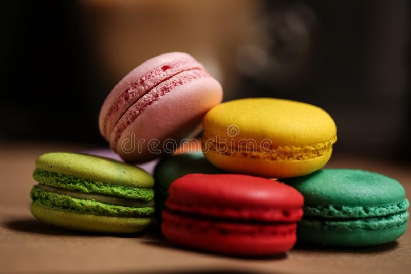 Pyramid of macarons cake. Food concept in bakery. Close-up photo. Macro photography royalty free stock photography