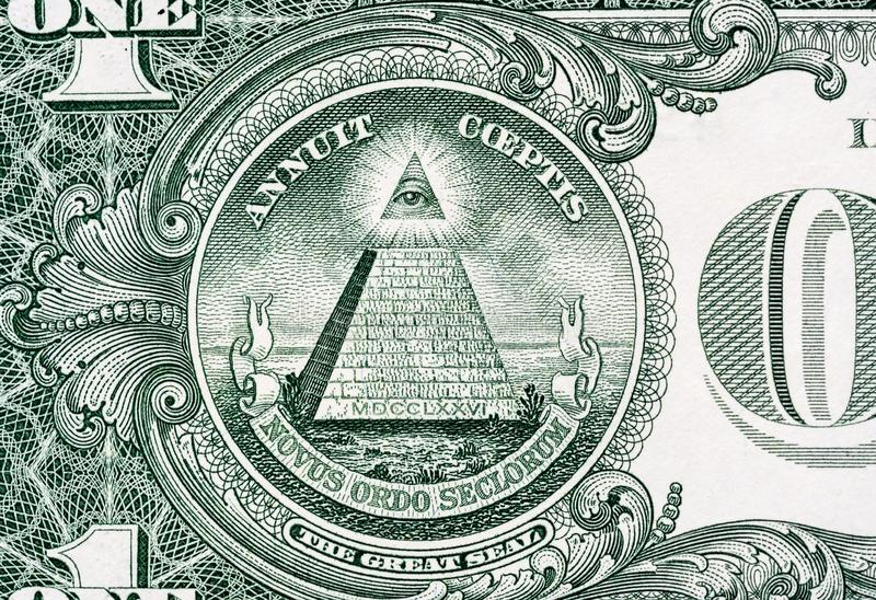 Pyramid macro close-up on a banknote of 1 US dollars. Detail of one dollar bill. Big large size.  royalty free stock image