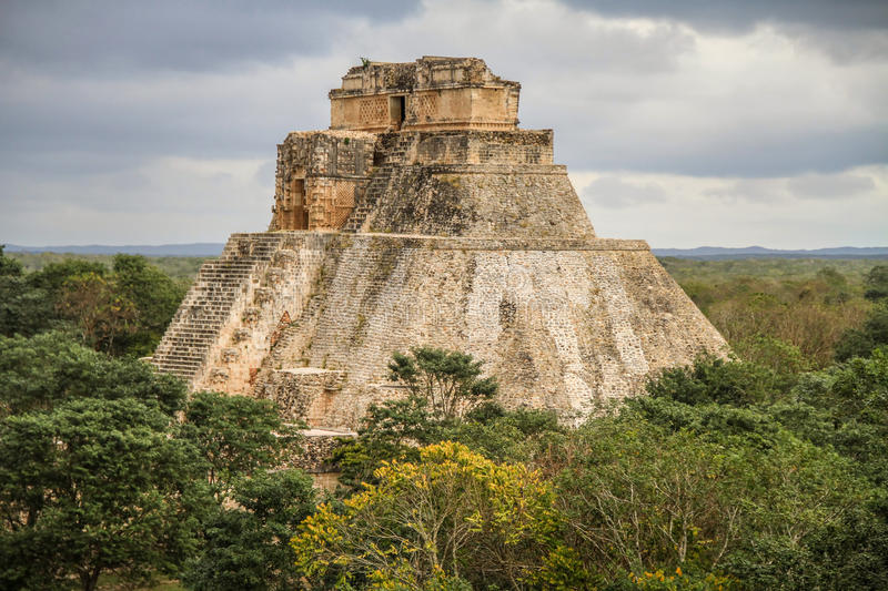 Pyramid of the Magician, Uxmal Ancient Maya city, Yucatan, Mexico. Uxmal is an ancient Maya city of the classical period in present-day Mexico. It is considered royalty free stock images