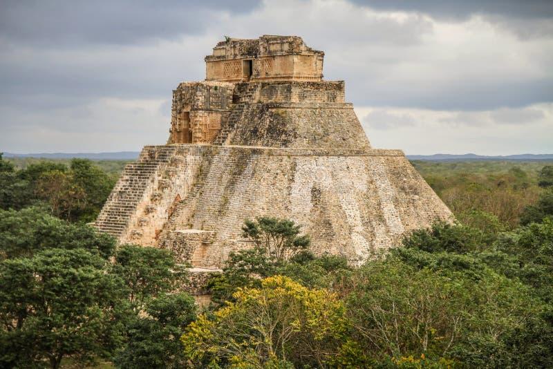 Pyramid of the Magician, Uxmal Ancient Maya city, Yucatan, Mexico royalty free stock images
