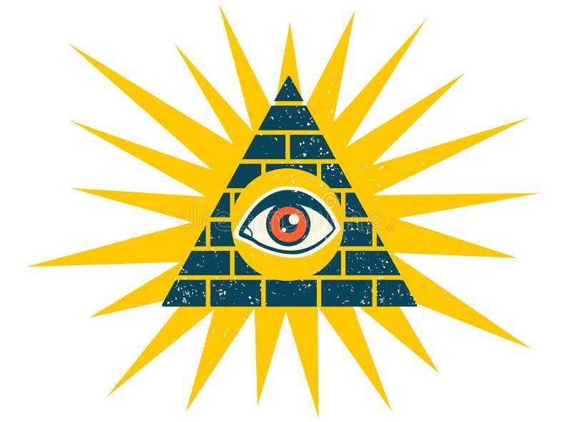 Pyramid med ögat royaltyfri illustrationer