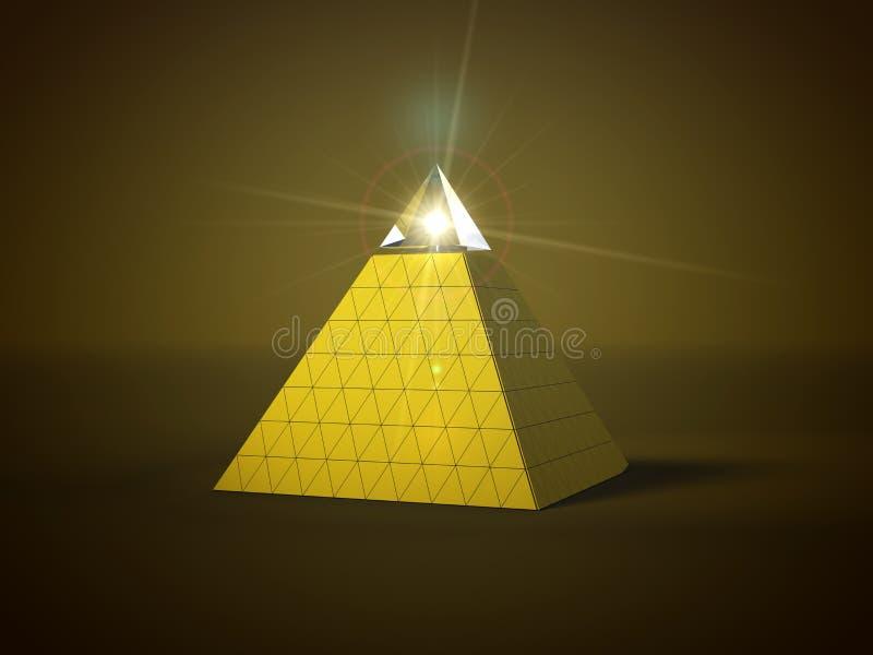Pyramid med den glass delen överst och ljus stråle in i den glass delen illustration 3d vektor illustrationer