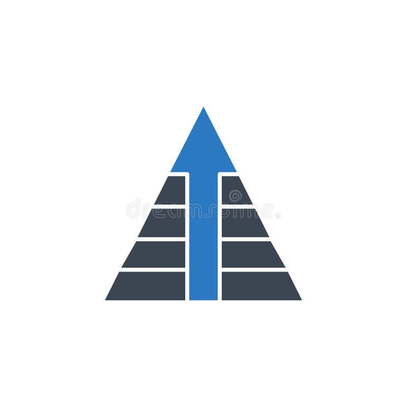Pyramid med för vektorskåra för pil den släkta symbolen vektor illustrationer