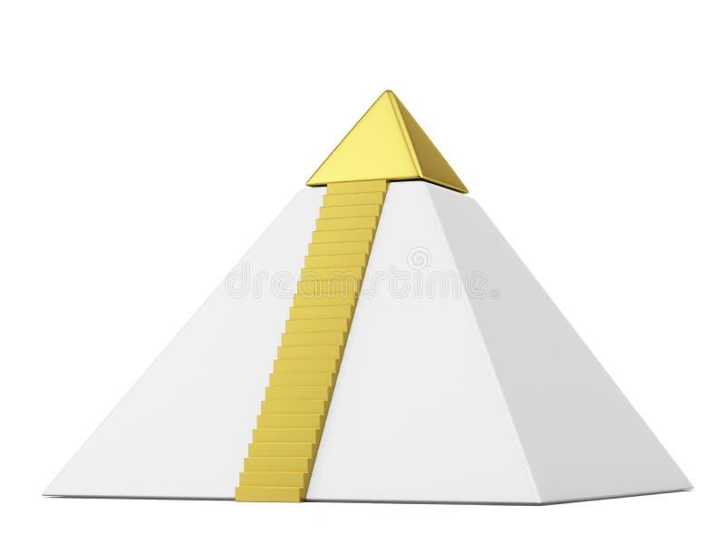 Pyramid med guldöverkanten stock illustrationer