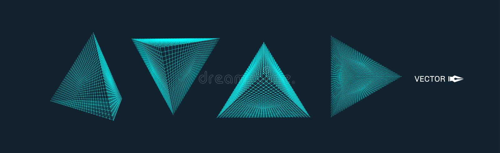 Pyramid. Molecular grid. 3d technology style. Vector illustration. Connection structure for chemistry and science. Pyramid. Molecular grid. 3d technology style vector illustration
