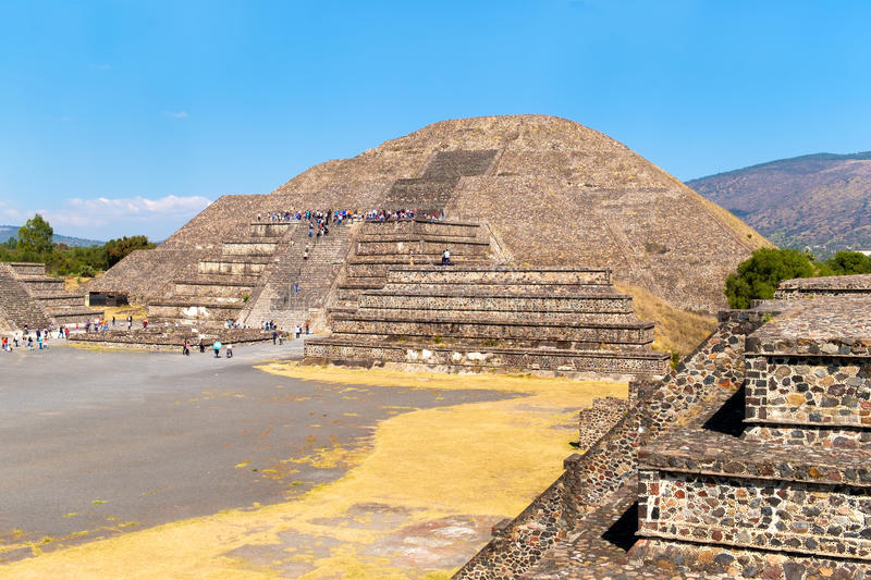 The Pyramid of the Moon and other pre-columbian structures at Teotihuacan in Mexico. The Pyramid of the Moon and other pre-columbian structures at Teotihuacan, a royalty free stock images