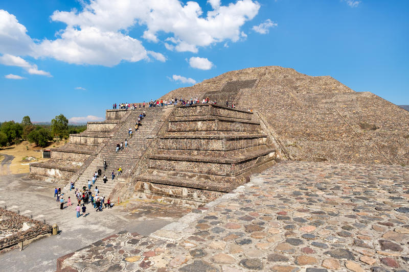 The Pyramid of the Moon and other pre-columbian structures at Teotihuacan in Mexico. The Pyramid of the Moon and other pre-columbian structures at Teotihuacan, a royalty free stock photo