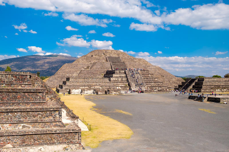 The Pyramid of the Moon and other pre-columbian structures at Teotihuacan in Mexico. The Pyramid of the Moon and other pre-columbian structures at Teotihuacan, a royalty free stock image