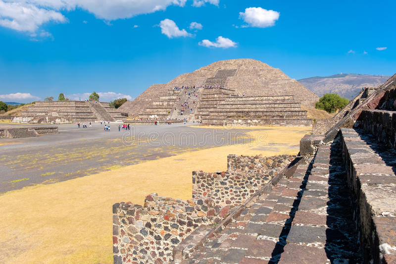 The Pyramid of the Moon and other pre-columbian structures at Teotihuacan in Mexico. The Pyramid of the Moon and other pre-columbian structures at Teotihuacan, a royalty free stock photography