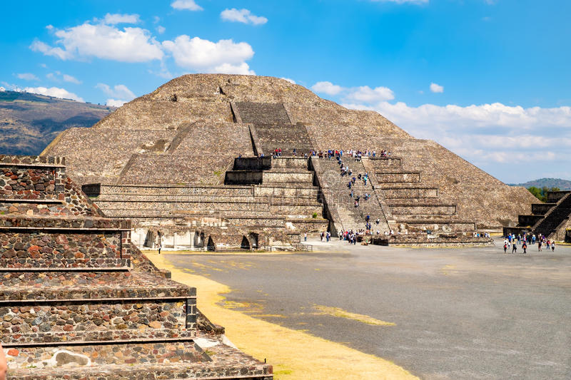 The Pyramid of the Moon and other prehispanic structures at Teotihuacan in Mexico. The Pyramid of the Moon and other pre-columbian structures at Teotihuacan, a stock photography