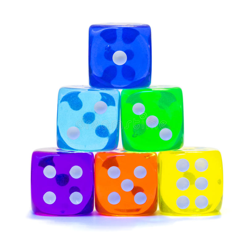 Pyramid of multicolored dice. stock photography