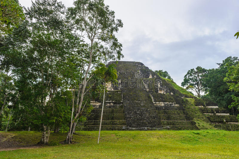 Pyramid of Mundo Perdido. The largest ceremonial complex dating from the Preclassic period at the ancient Maya city of Tikal, northern Guatemala stock photo