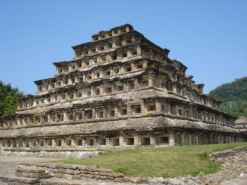 Pyramid of the niches El Tajín, Veracruz, Mexico. The pyramid of the niches is one of the most popular buildings in the archeological site of El Tajín in royalty free stock images