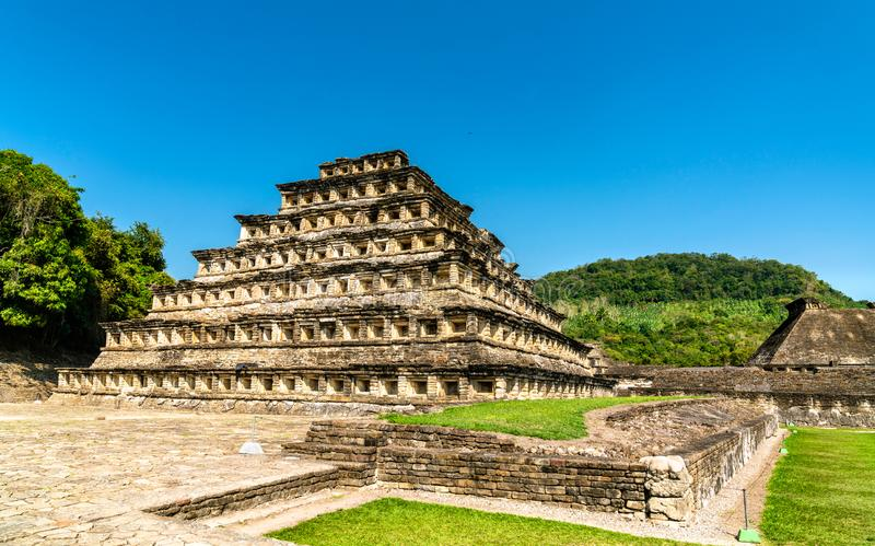 Pyramid of the Niches at El Tajin, a pre-Columbian archeological site in southern Mexico. Pyramid of the Niches at El Tajin archeological site, UNESCO world stock image
