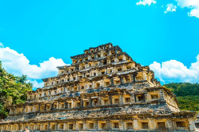 Pyramid of niches in the tajin. Located in Papantla, Veracruz, Mexico royalty free stock images