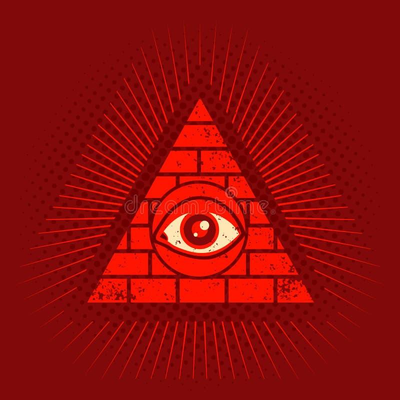 Pyramid och öga royaltyfri illustrationer