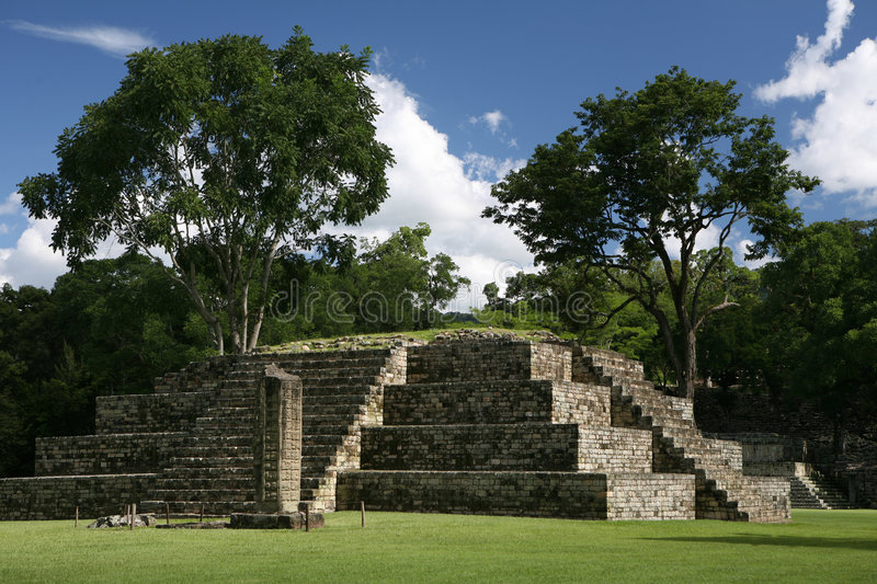 Pyramid in old precloumbian city stock image