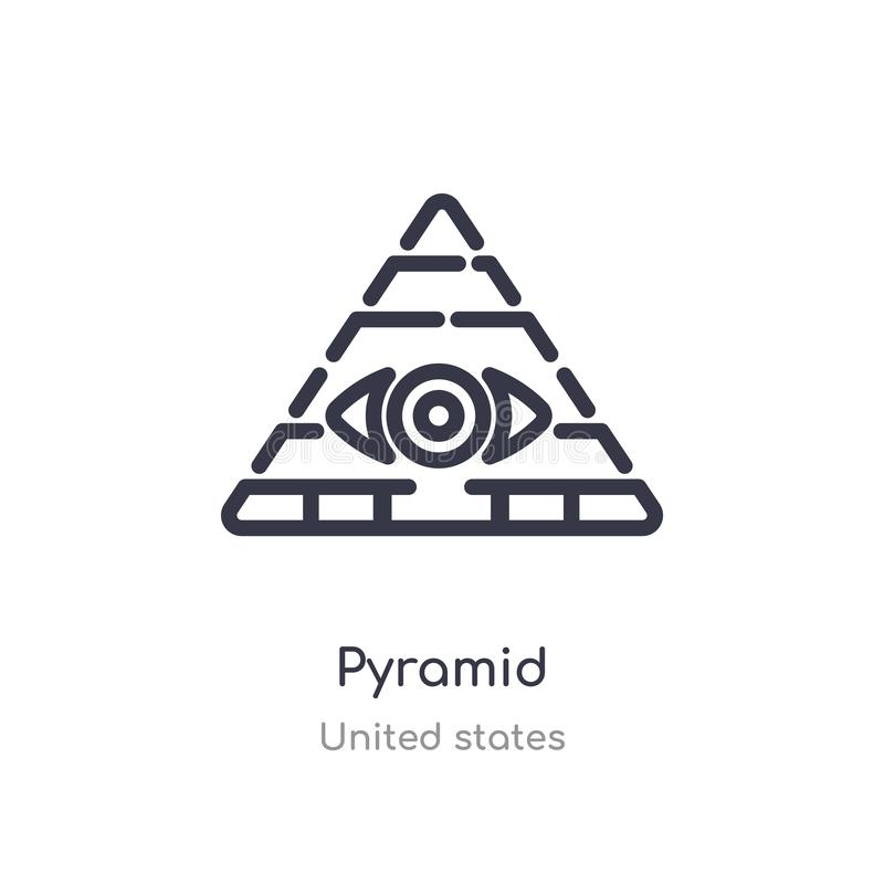 pyramid outline icon. isolated line vector illustration from united states collection. editable thin stroke pyramid icon on white royalty free illustration