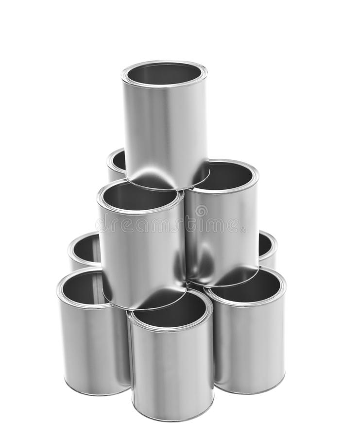 Pyramid of Paint Cans stock photos