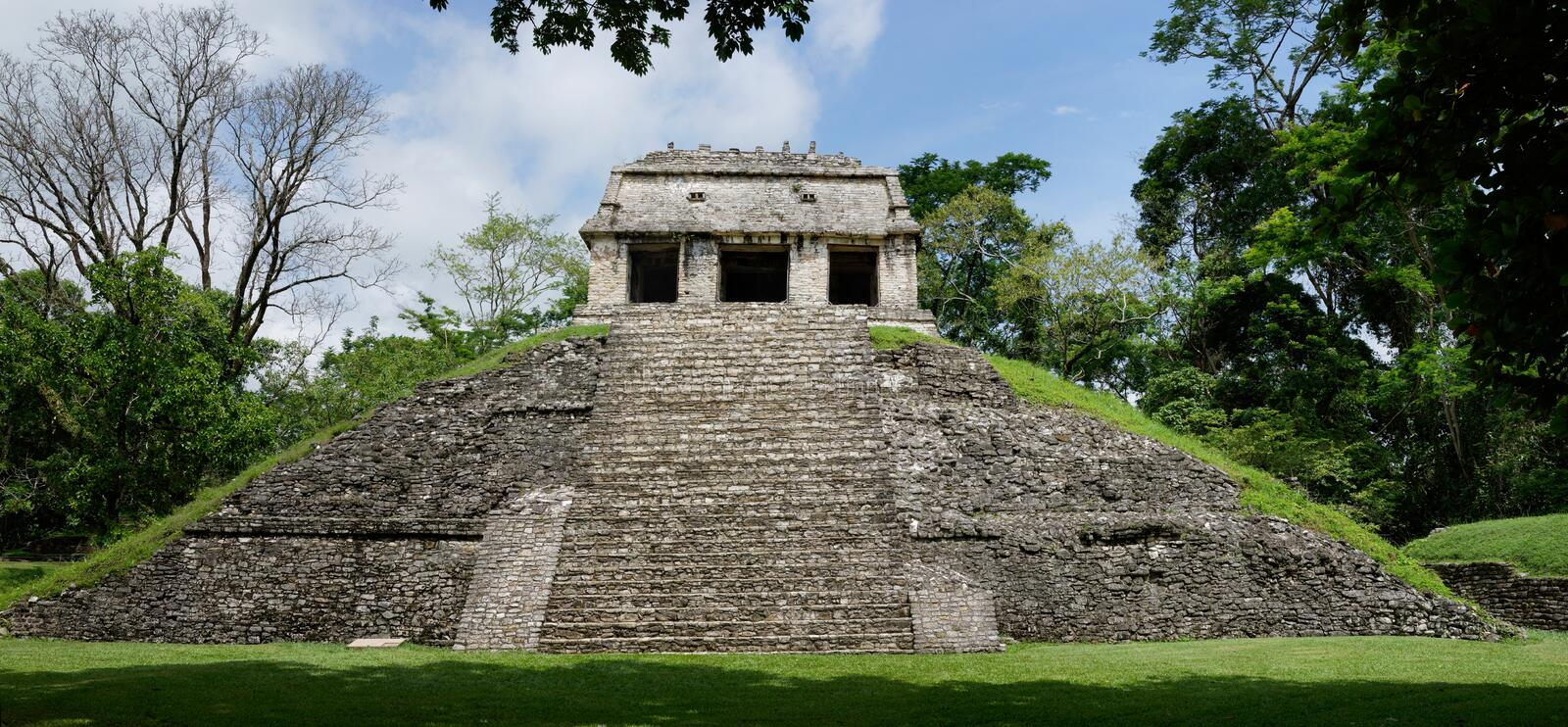 Pyramid in Palenque Maya archaeological site royalty free stock photography