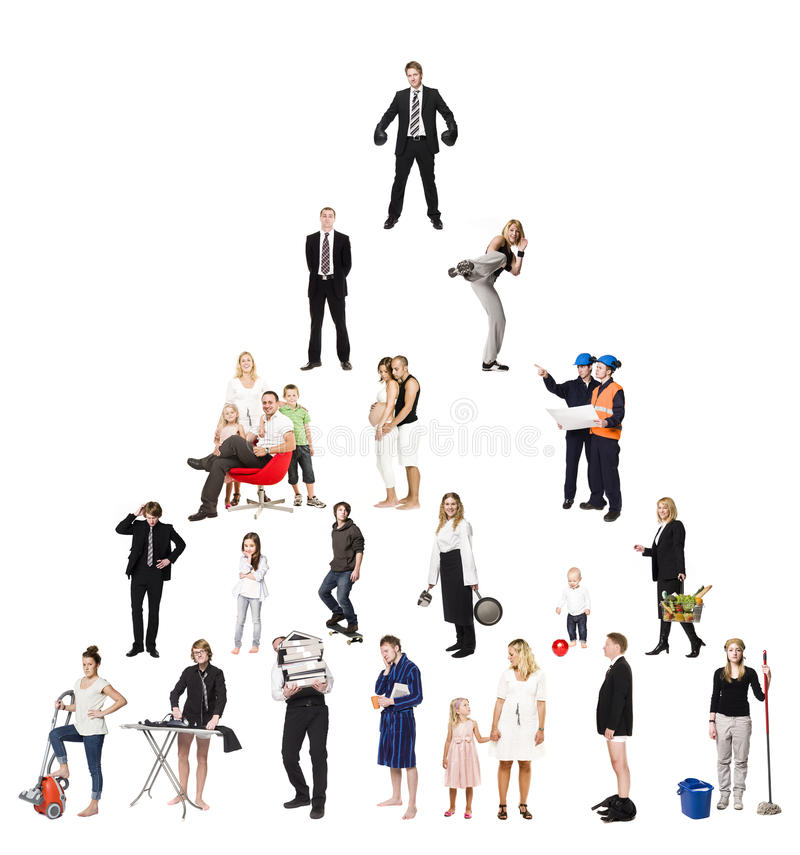 Pyramid of Real People. Isolated on white Background royalty free stock images