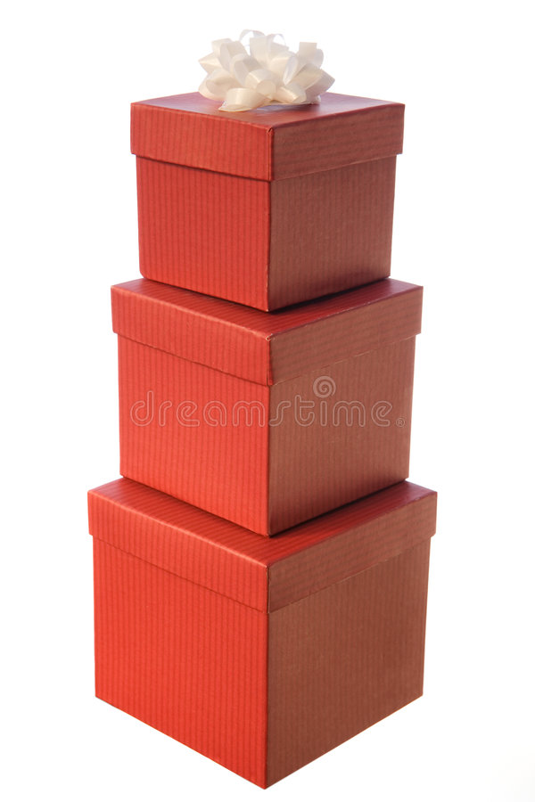 Pyramid of red presents stock photography