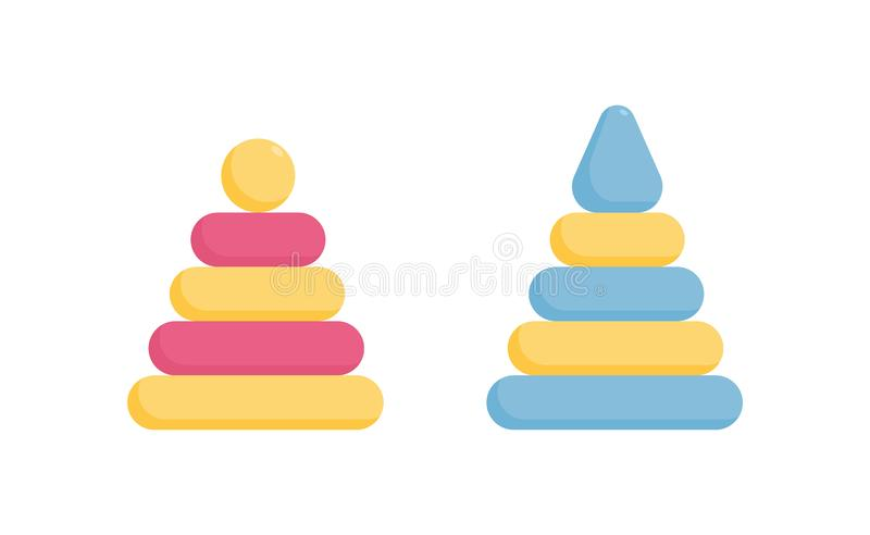 Pyramid ring toddler toy of two colors - pink and blue educational game for little girl or boy. Pyramid ring toddler toy of two colors - pink and blue stock illustration