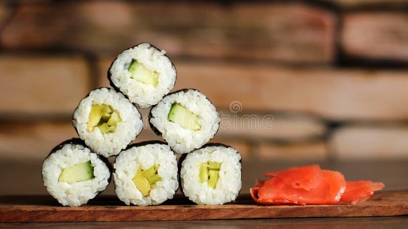 Pyramid of rolls in sushi bar royalty free stock photos