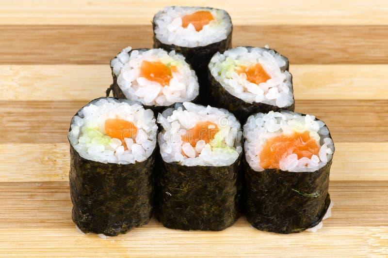 Pyramid of salmon maki sushi stock image