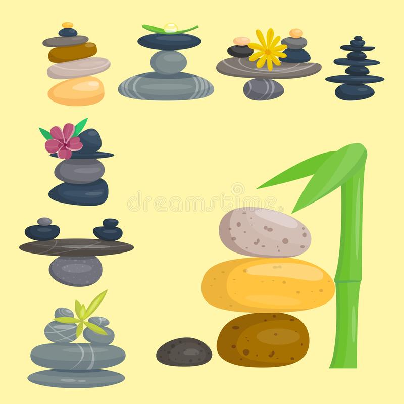 Pyramid from sea pebble relax heap stones healthy wellness black massage meditation natural tool spa balance therapy zen royalty free illustration