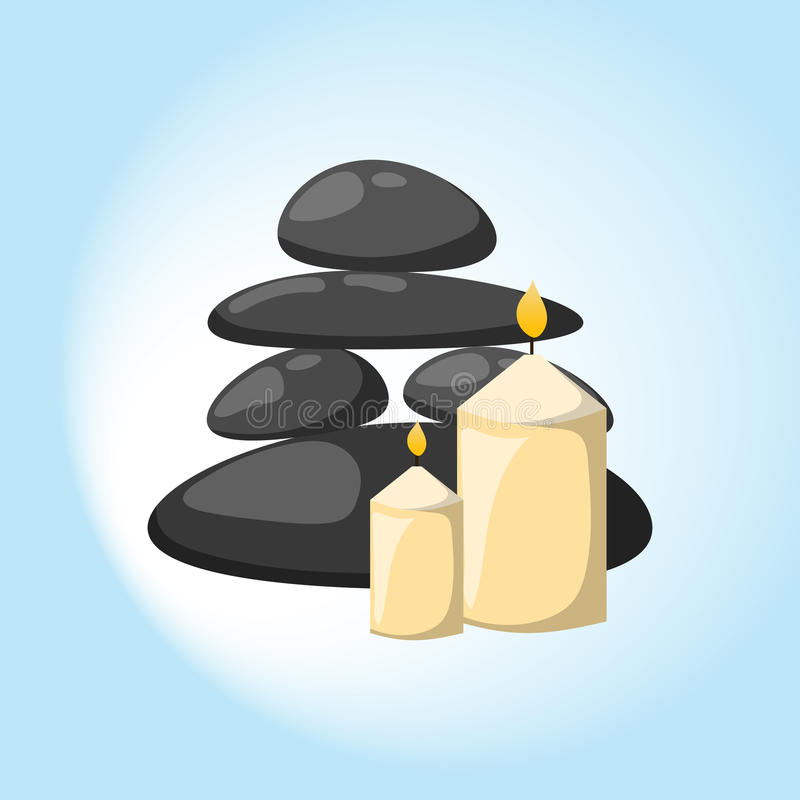 Pyramid from sea pebble relax heap stones isolated and healthy wellness black massage meditation natural tool spa vector illustration
