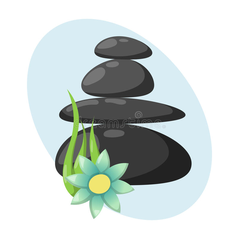 Pyramid from sea pebble relax heap stones isolated and healthy wellness black massage meditation natural tool spa stock illustration